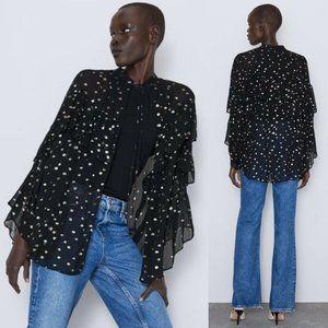 Zara Semi-Sheer Metallic Polka Dot Flowy Cardigan